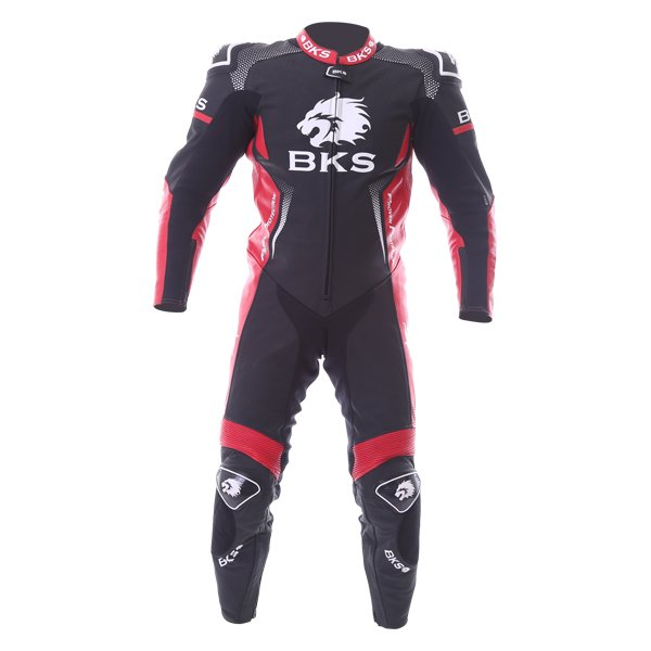 BKS Apex 1 Piece Black Red Leather Motorcycle Suit Front
