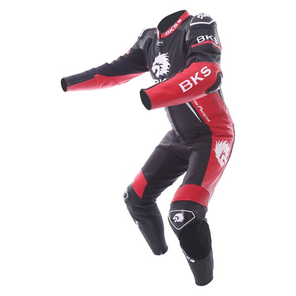 BKS Apex 1 Piece Black Red Leather Motorcycle Suit Racing crouch