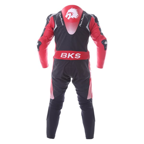 BKS Apex 1 Piece Black Red Leather Motorcycle Suit Back