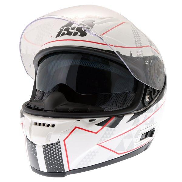 IXS HX215 Triangle White Black Silver Full Face Motorcycle Helmet Open With Sun Visor