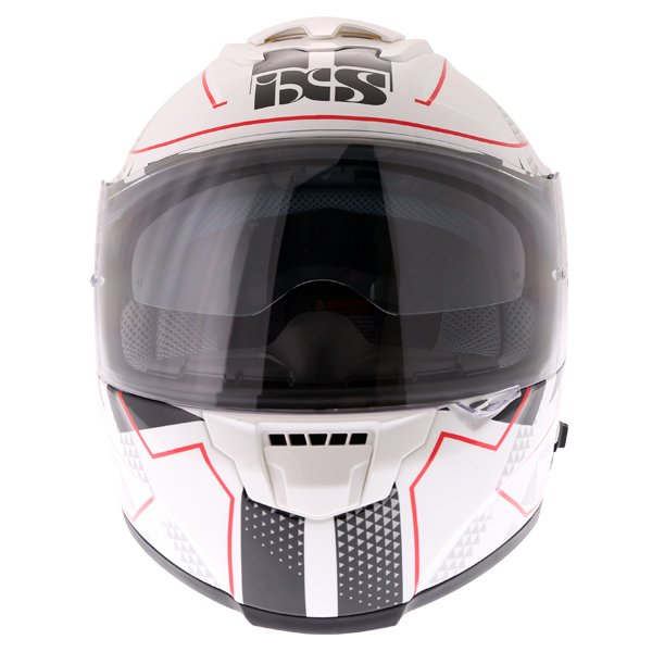 IXS HX215 Triangle White Black Silver Full Face Motorcycle Helmet Front