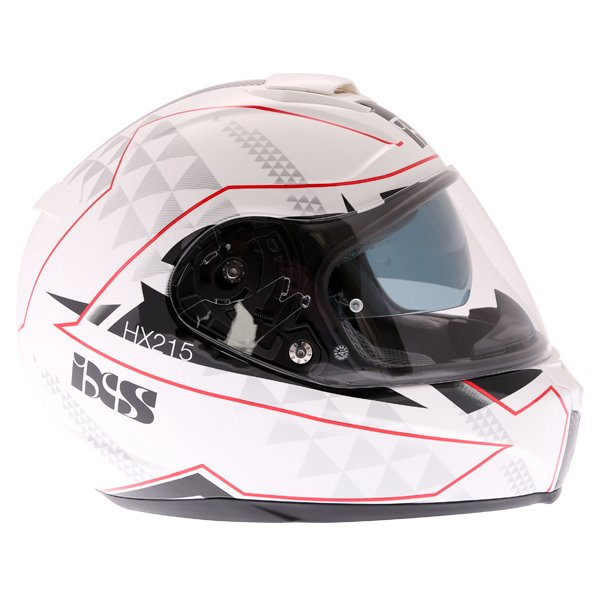 IXS HX215 Triangle White Black Silver Full Face Motorcycle Helmet Right Side