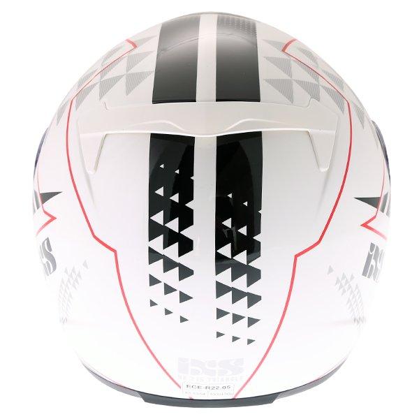 IXS HX215 Triangle White Black Silver Full Face Motorcycle Helmet Back