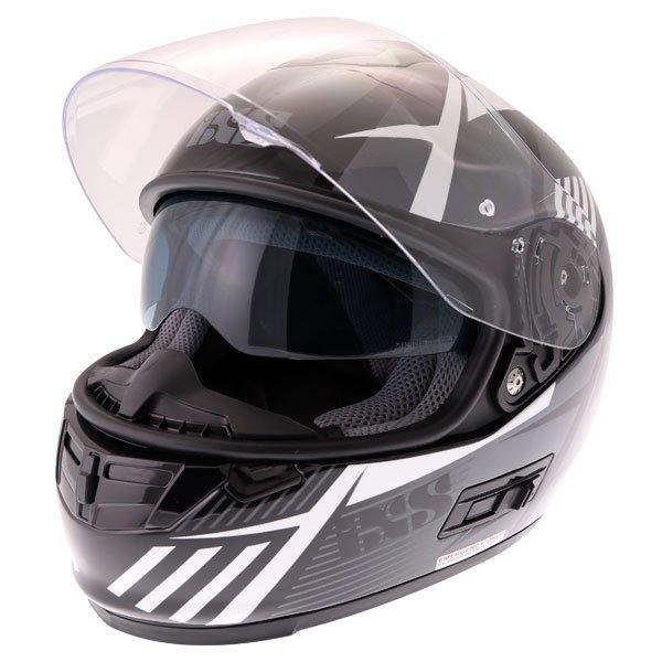 IXS HX444 Angle Black White Silver Full Face Motorcycle Helmet Open With Sun Visor