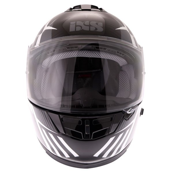 IXS HX444 Angle Black White Silver Full Face Motorcycle Helmet Front