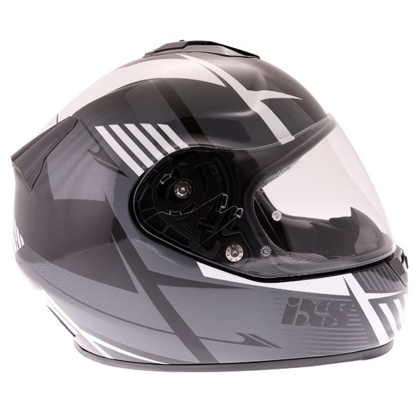 IXS HX444 Angle Black White Silver Full Face Motorcycle Helmet Right Side
