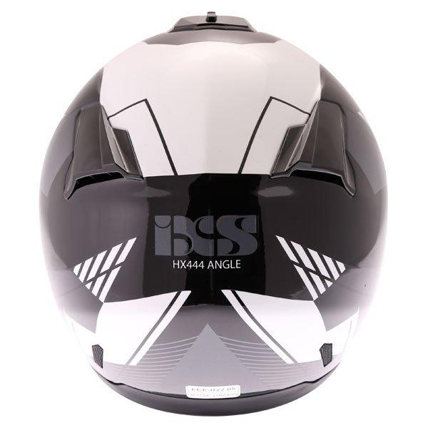 IXS HX444 Angle Black White Silver Full Face Motorcycle Helmet Back