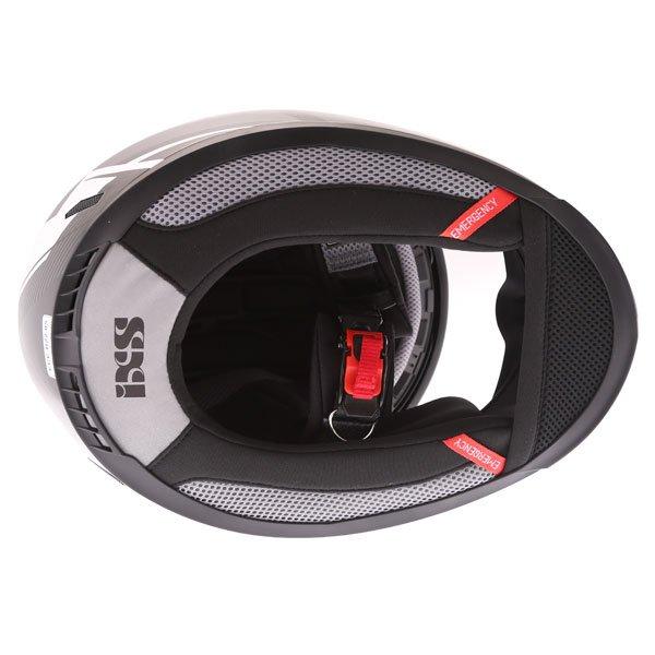 IXS HX444 Angle Black White Silver Full Face Motorcycle Helmet Inside