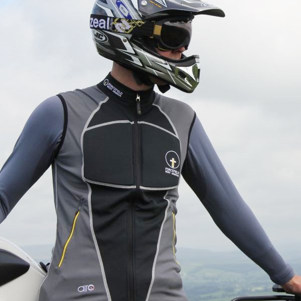 Forcefield Black Airo Vest With Level 2 Back Insert In Use