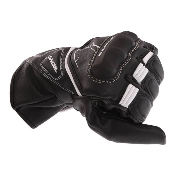 Bering Run-R Black White Motorcycle Gloves Knuckle