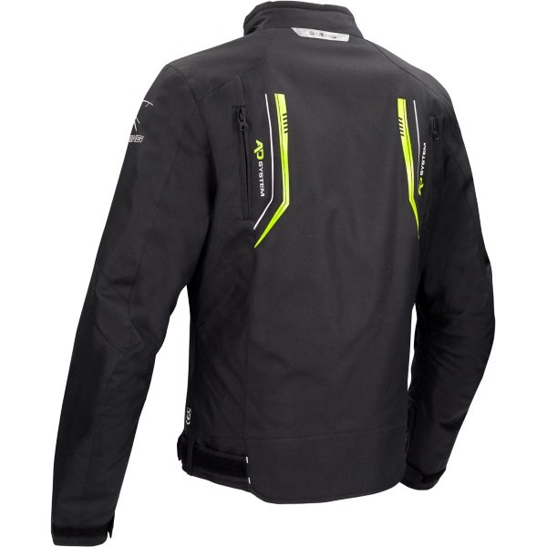 Bering Ross Black Fluo Yellow Textile Motorcycle Jacket Back