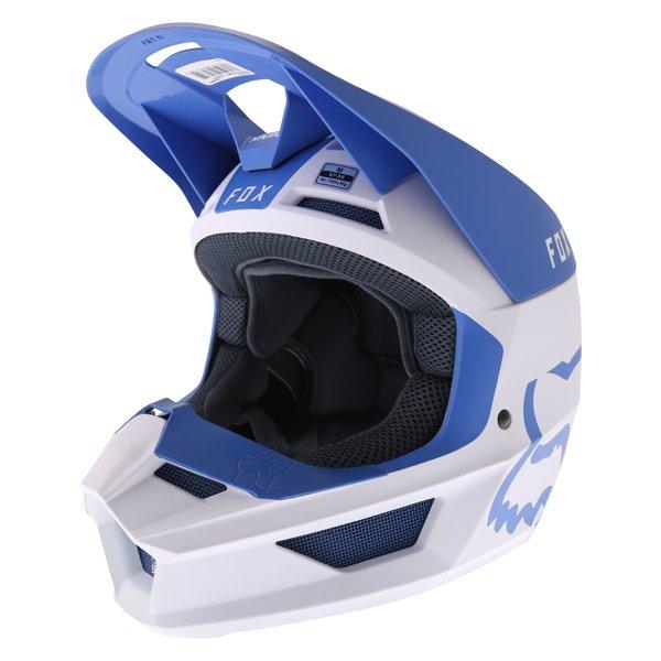 Fox V1 Mata Blue White Motocross Helmet Front Left