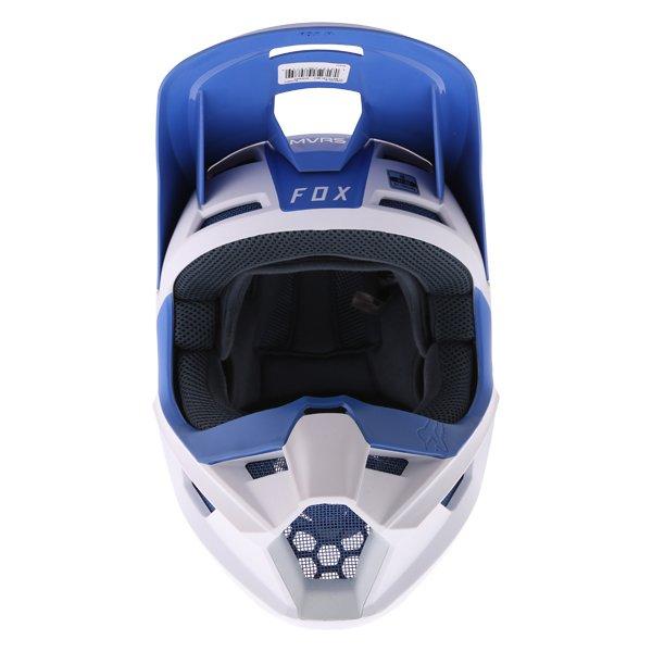 Fox V1 Mata Blue White Motocross Helmet Front