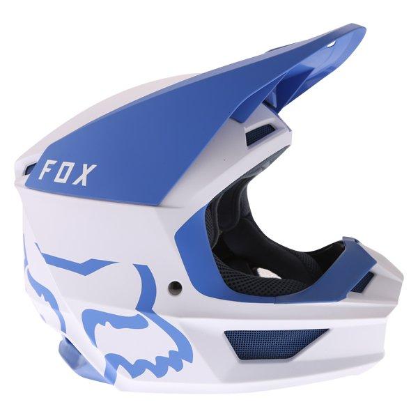 Fox V1 Mata Blue White Motocross Helmet Right Side