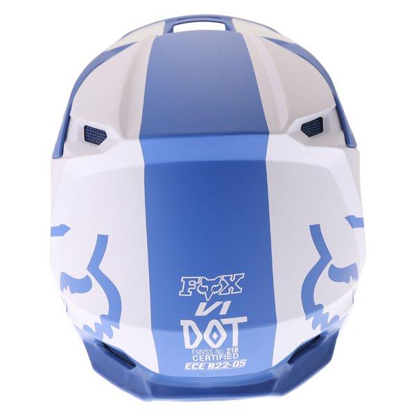 Fox V1 Mata Blue White Motocross Helmet Back