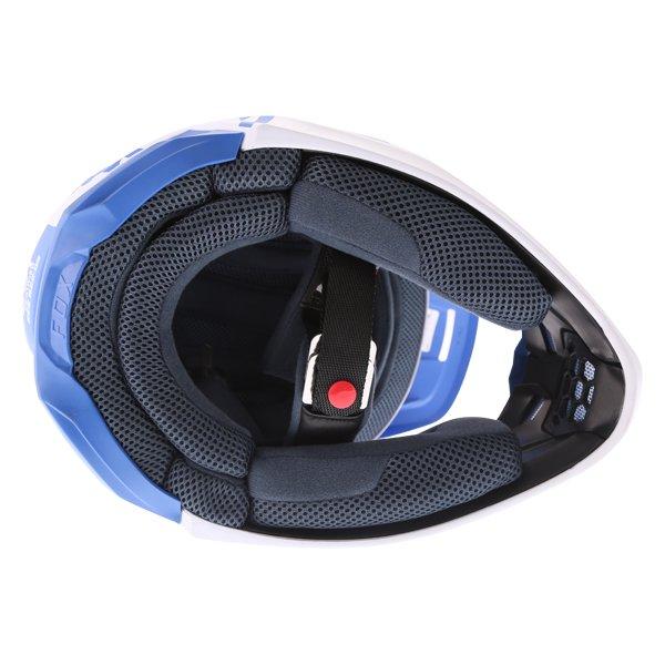 Fox V1 Mata Blue White Motocross Helmet Inside