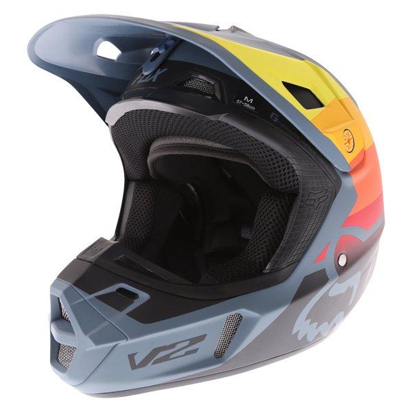 Fox V2 Murc Blue STL Motocross Helmet Front Left