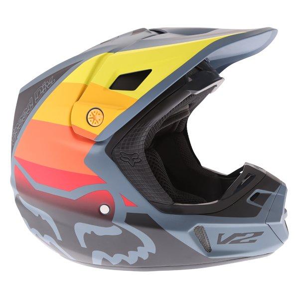 Fox V2 Murc Blue STL Motocross Helmet Right Side