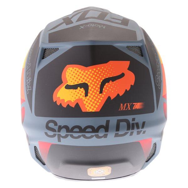 Fox V2 Murc Blue STL Motocross Helmet Back
