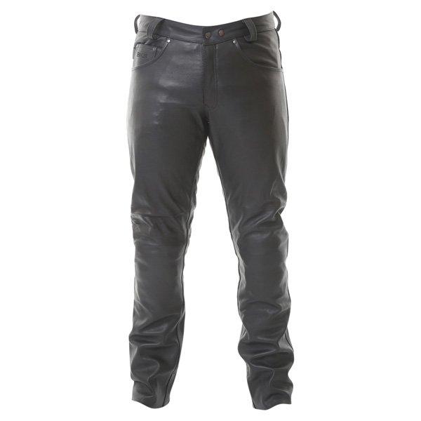 BKS K9 Kevlar Black Leather Motorcycle Jeans Front
