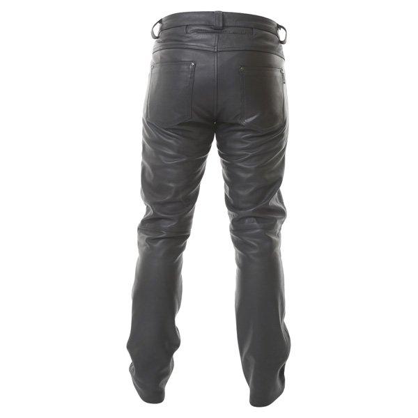 BKS K9 Kevlar Black Leather Motorcycle Jeans Rear