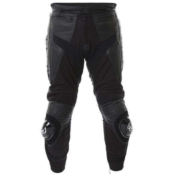 Berick LP-5927 Mens Black Leather Motorcycle Jeans Front