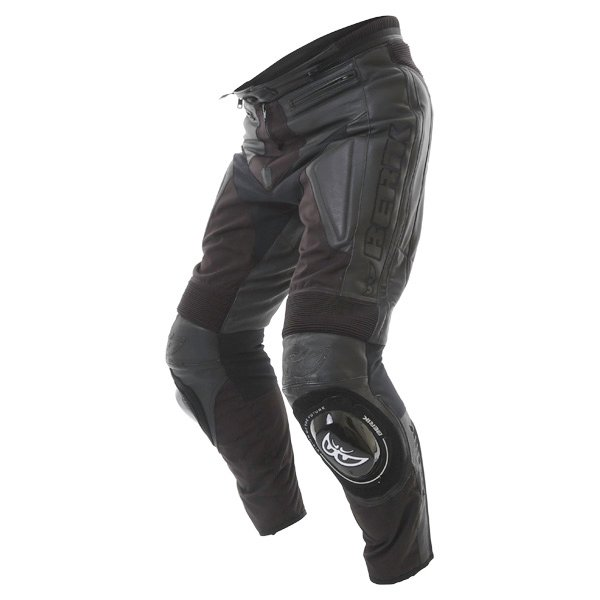 Berick LP-5927 Mens Black Leather Motorcycle Jeans Riding crouch