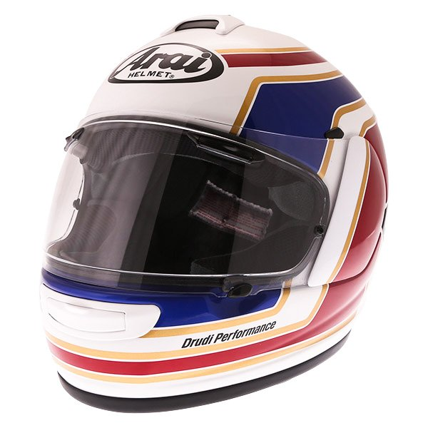 Arai Axces III Matrix White Red Blue Full Face Motorcycle Helmet Front Left