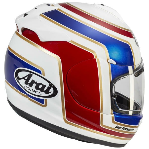 Arai Axces III Matrix White Red Blue Full Face Motorcycle Helmet Back Right