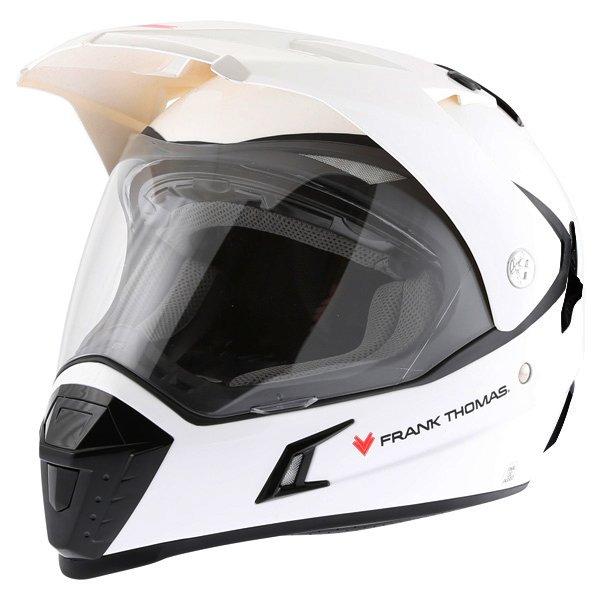 Frank Thomas White Adventure Motorcycle Helmet Front Left