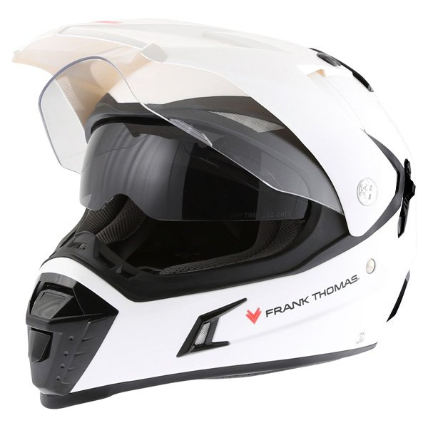 Frank Thomas White Adventure Motorcycle Helmet With Sun Visor