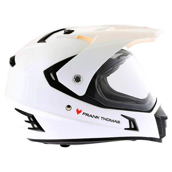 Frank Thomas White Adventure Motorcycle Helmet Right Side