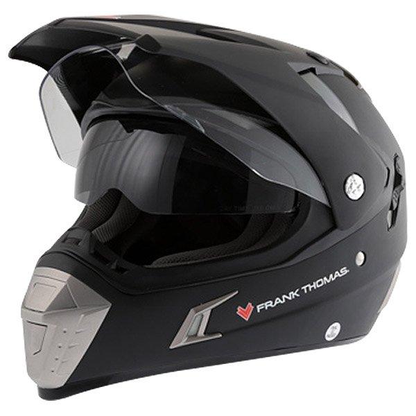 Frank Thomas Matt Black Adventure Motorcycle Helmet Open With Sun Visor