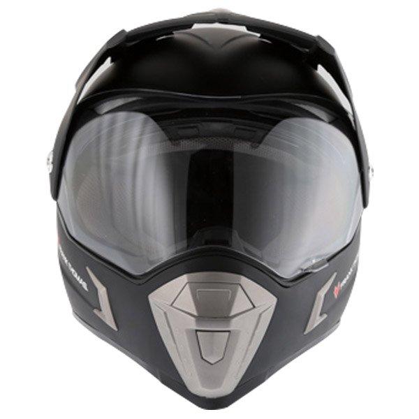 Frank Thomas Matt Black Adventure Motorcycle Helmet Front