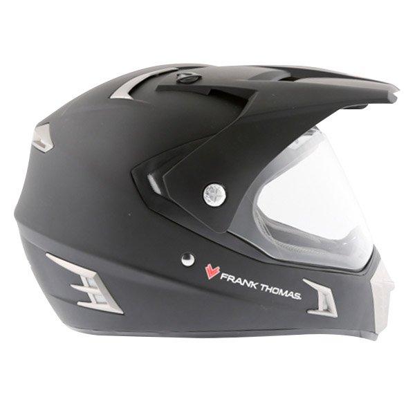 Frank Thomas Matt Black Adventure Motorcycle Helmet Right Side