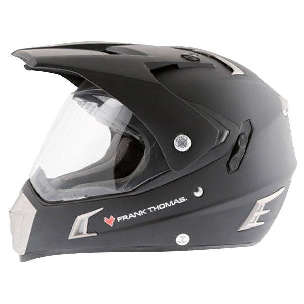 Frank Thomas Matt Black Adventure Motorcycle Helmet Left Side