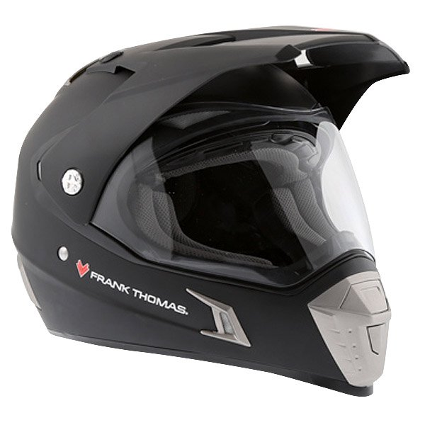 Frank Thomas Matt Black Adventure Motorcycle Helmet Front Left