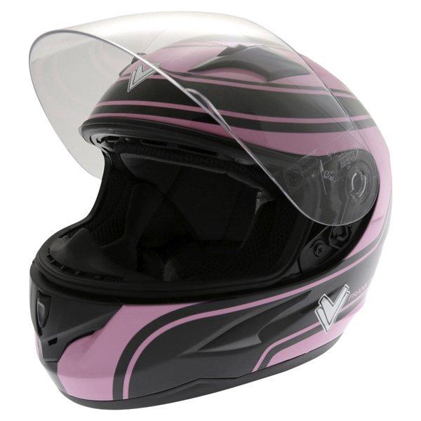 Frank Thomas FT36 Pink G1 Ladies Full Face Motorcycle Helmet Open With Sun Visor