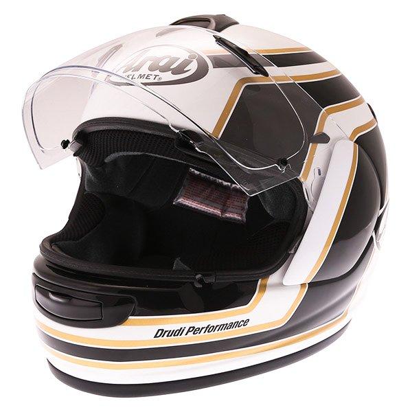 Arai Axces III Matrix Black White Full Face Motorcycle Helmet Open Visor