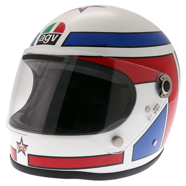 AGV X3000 Lucky White Red Blue Full Face Motorcycle Helmet Front Left