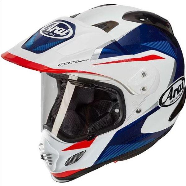 Arai Tour-X 4 Break White Blue Adventure Motorcycle Helmet Front Left