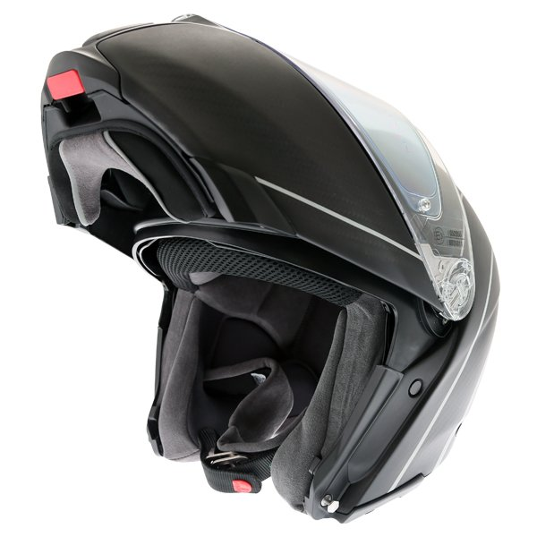 AGV Sports Modular Refractive Helm Carbon Silver Flip Front Motorcycle Helmet Flip Open