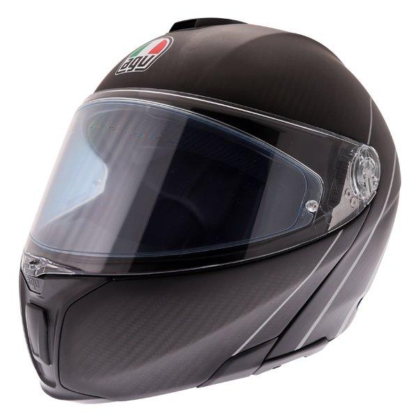 AGV Sports Modular Refractive Helm Carbon Silver Flip Front Motorcycle Helmet Front Left