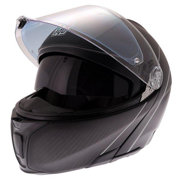 AGV Sports Modular Refractive Helm Carbon Silver Flip Front Motorcycle Helmet Open With Sun Visor