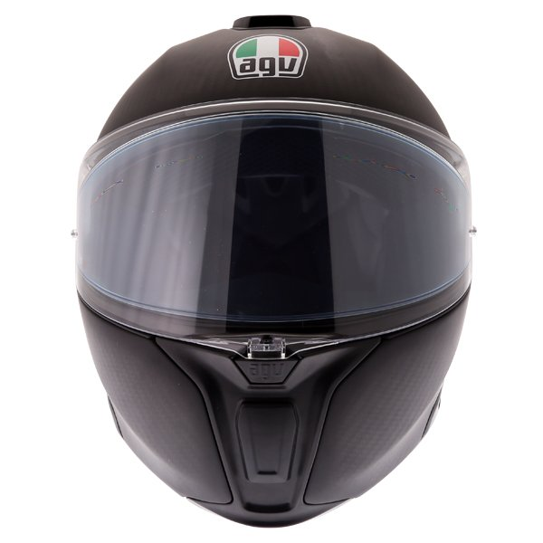 AGV Sports Modular Refractive Helm Carbon Silver Flip Front Motorcycle Helmet Front