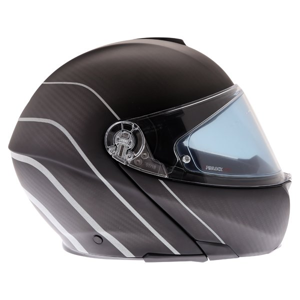AGV Sports Modular Refractive Helm Carbon Silver Flip Front Motorcycle Helmet Right Side