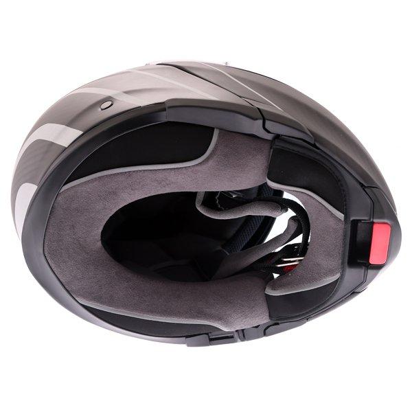 AGV Sports Modular Refractive Helm Carbon Silver Flip Front Motorcycle Helmet Inside