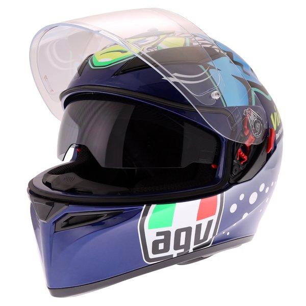 AGV K3 SV Rossi Misano 2015 Replica Full Face Motorcycle Helmet Open With Sun Visor