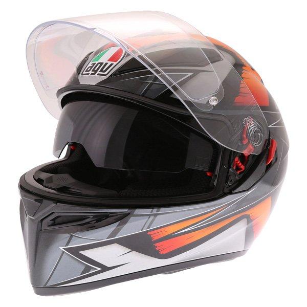 AGV K3 SV Liquefy Black Orange Full Face Motorcycle Helmet Open With Sun Visor