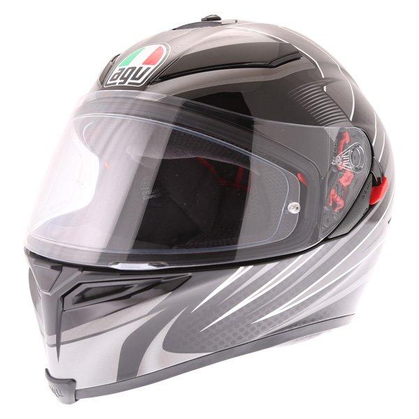 AGV K5-S Hurricane 2 Black Silver Full Face Motorcycle Helmet Front Left